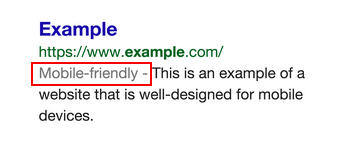 SERP mobile friendly snippet